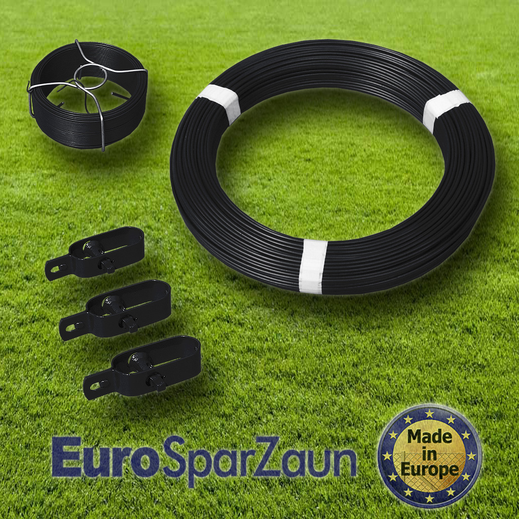 Schwarzes Zaun-Kit mit Ø 3,1mm Spanndraht für 25m Maschendrahtzaun ...