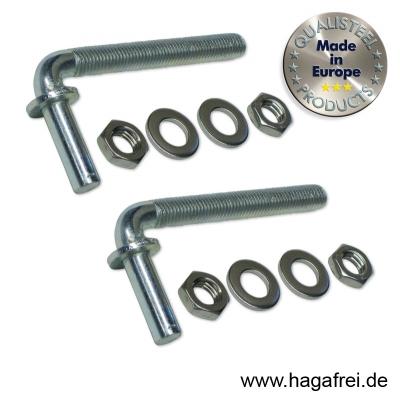 1 Paar Toraufhängungen M12 x 110 mm für Torpfosten 60 mm