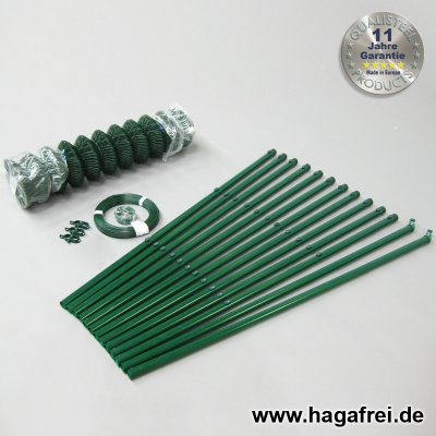 Spar-Zaunset Rundpfosten Maschendraht grün 60X60X2,8mm 0,80X25m