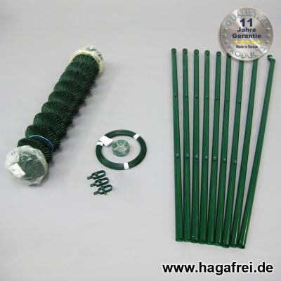 Spar-Zaunset Rundpfosten Maschendraht grün 60X60X2,4mm 1,00X15m
