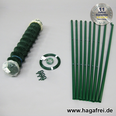 Spar-Zaunset Rundpfosten/Maschendraht grün 60X60X2,4mm 1,50X15m
