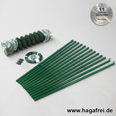 Spar-Zaunset Rundpfosten/Maschendraht grün 60X60X2,4mm 1,50X25m