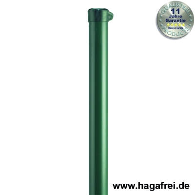 Zaunpfahl Ø34mm verzinkt + grün mit Ösenkappe