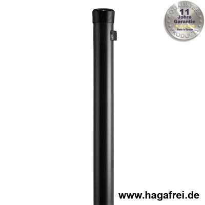 Zaunpfahl verzinkt + schwarz mit Drahthaltern Ø42