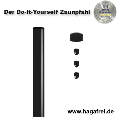 Do-It-Yourself Zaunpfahl verzinkt + schwarz Ø42