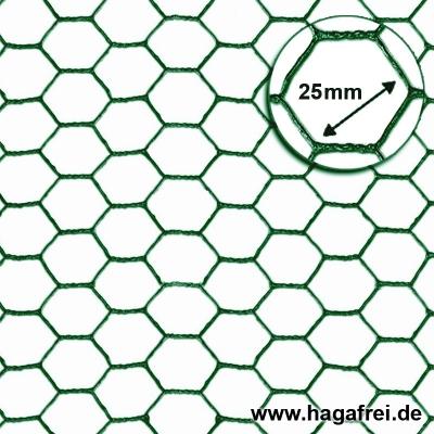 Sechseckgeflecht grün 25x1,0mm 25m Rollen