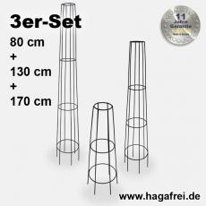 3er Set Obelisk Venecia rund schwarz pulverbeschichtet