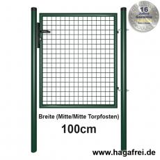 Gartentor feuerverzinkt + grün für Maschendrahtzaun 1m Breite