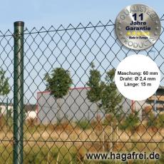 Profi-Zaunset Rundpfosten Maschendraht 15m grün 60 x 60 x 2,4 mm