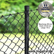 Profi-Zaunset Rundpfosten Maschendraht schwarz 60x60x2,8mm 15m