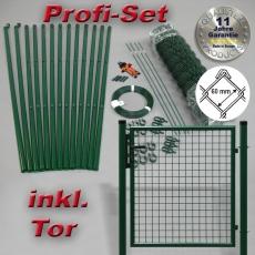 Profi-Zaunset Rundpfosten grün Maschung 60X60X2,8mm inkl. Tor