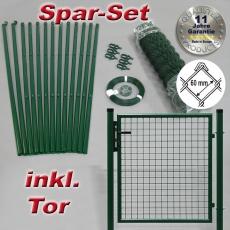Spar-Zaunset Rundpfosten grün Maschung 60X60X2,8mm inkl. Tor