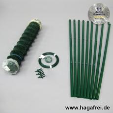 Spar-Zaunset Rundpfosten/Maschendraht grün 60X60X2,4mm 1,25X15m