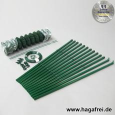 Profi-Zaunset Rundpfosten Maschendraht 25m grün 60 x 60 x 2,8 mm