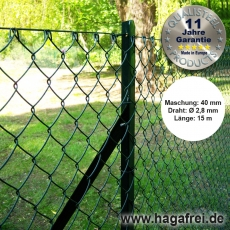 Profi-Set T-Profilpfosten Maschendraht 15m grün 40 x 40 x 2,8 mm