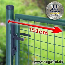 Gartentor zinkphosphatiert + grün für Maschendrahtzaun 1,50m Breite