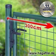 Gartentor zinkphosphatiert + grün für Maschendrahtzaun 3m Breite