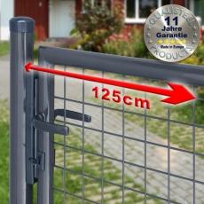 Gartentor zinkphosphatiert + anthrazit für Maschendrahtzaun 1,25m Breite
