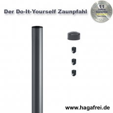 Do-It-Yourself Zaunpfahl verzinkt + anthrazit Ø42